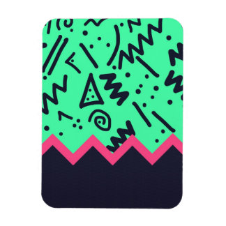 Vintage Fashion Trend Neon Colorful Shapes Pattern Magnet