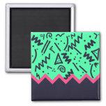 Vintage Fashion Trend Neon Colorful Shapes Pattern Fridge Magnet