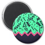 Vintage Fashion Trend Neon Colorful Shapes Pattern Fridge Magnets