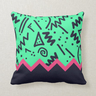 Vintage Fashion Trend Neon Colorful Shapes Pattern Pillows
