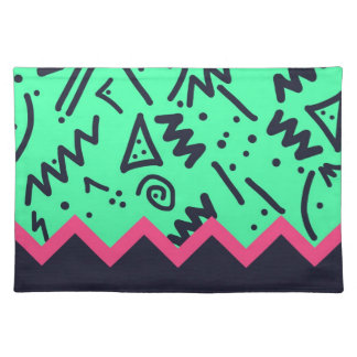 Vintage Fashion Trend Neon Colorful Shapes Pattern Place Mats