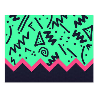 Vintage Fashion Trend Neon Colorful Shapes Pattern Postcard