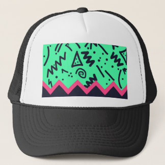 Vintage Fashion Trend Neon Colorful Shapes Pattern Trucker Hat