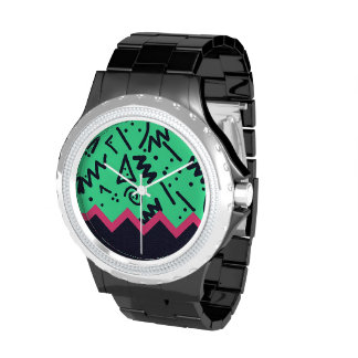 Vintage Fashion Trend Neon Colorful Shapes Pattern Wrist Watches