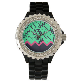 Vintage Fashion Trend Neon Colorful Shapes Pattern Wristwatches