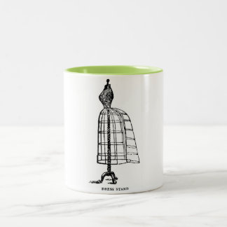 Vintage Fashion Victorian Wire Dress Form Design Two-Tone Coffee Mug