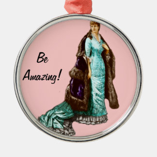 Vintage Fashion with Personalized Text Metal Ornament