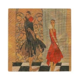 Vintage Fashion Women Wooden Coaster
