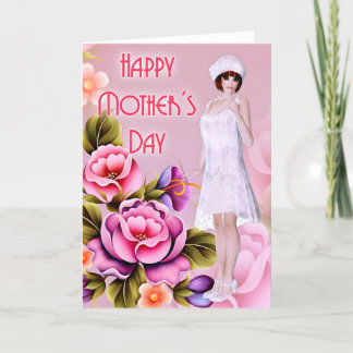 Vintage Fashionable Flapper - Mother's Day Card