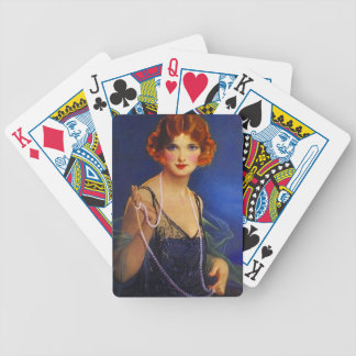 Vintage Fashionable Midnight Flapper Pearls Cards