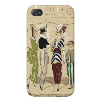 Vintage Fashionable Parisian Ladies with Dog Case For iPhone 4