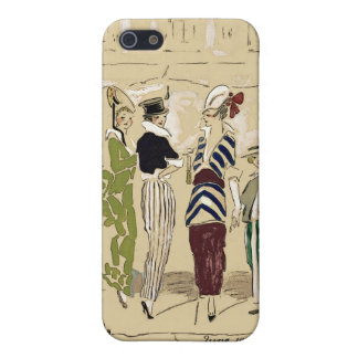 Vintage Fashionable Parisian Ladies with Dog Cover For iPhone 5/5S