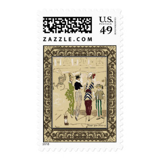 Vintage Fashionable Parisian Ladies with Dog Postage Stamp