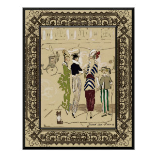 Vintage Fashionable Parisian Ladies with Dog Posters