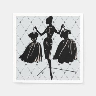 Vintage Fashionista Silhouette Napkins Disposable Napkins