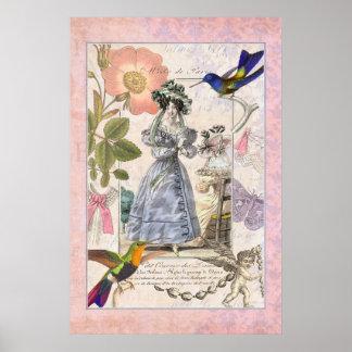 Vintage Fashions of Paris - French Elegant Collage Poster
