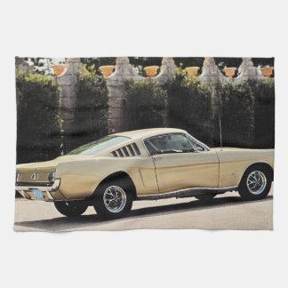 Vintage Fastback 1965 Mustang 2+2 Honey Gold Kitchen Towel