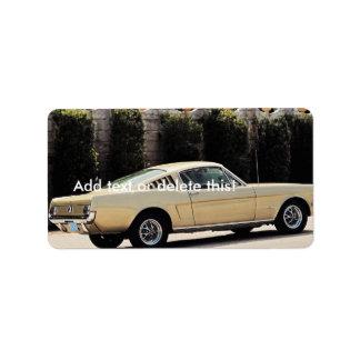 Vintage Fastback 1965 Mustang 2+2 Honey Gold Label
