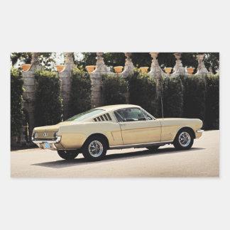 Vintage Fastback 1965 Mustang 2+2 Honey Gold Rectangular Sticker