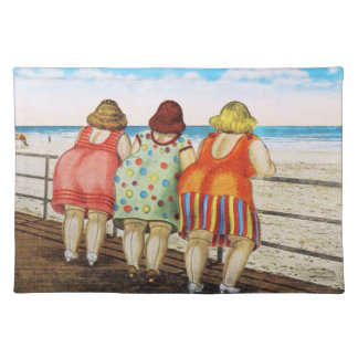 Vintage Fat Bottomed Girls at Beach Cloth Placemat