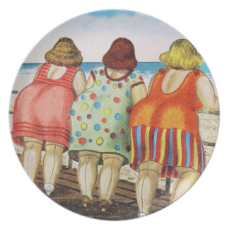 Vintage Fat Bottomed Girls at Beach Dinner Plate
