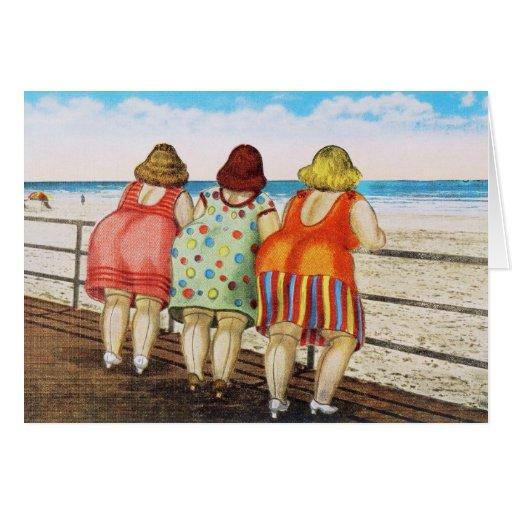 Vintage Fat Bottomed Girls at Beach Greeting Cards