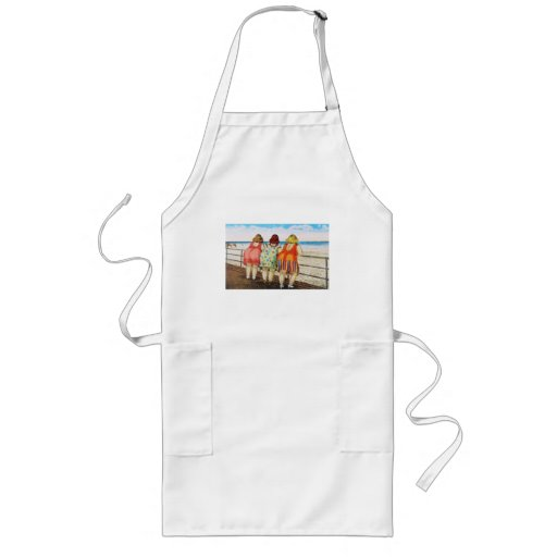 Vintage Fat Bottomed Girls at Beach Long Apron