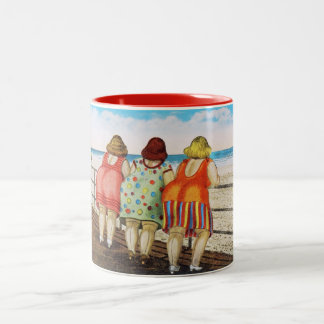 Vintage Fat Bottomed Girls at Beach Two-Tone Coffee Mug