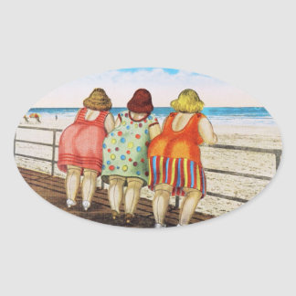 Vintage Fat Bottomed Girls at Beach Oval Sticker