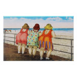Vintage Fat Bottomed Girls at Beach Print