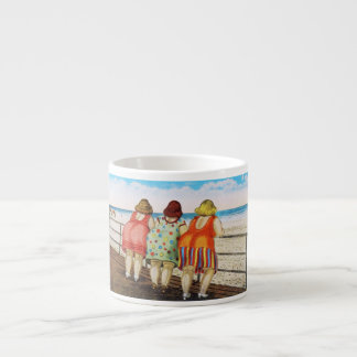 Vintage Fat Bottomed Girls at Beach 6 Oz Ceramic Espresso Cup
