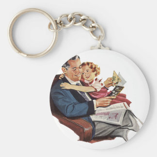 Vintage Father and Daughter, Happy Father's Day! Keychain