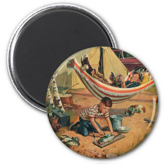 Vintage Father and Son Camping, Happy Father's Day 2 Inch Round Magnet