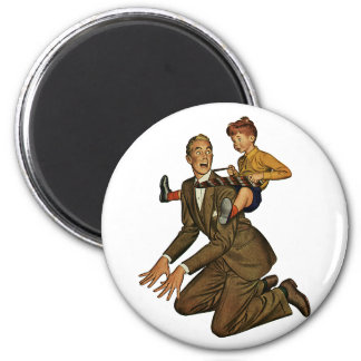 Vintage Father and Son, Funny, Silly Father's Day 2 Inch Round Magnet