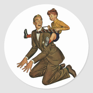 Vintage Father and Son, Funny, Silly Father's Day Classic Round Sticker