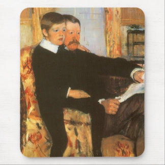 Vintage Father and Son Portrait by Mary Cassatt Mouse Pad
