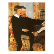 Vintage Father and Son Portrait by Mary Cassatt Postcard