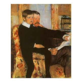 Vintage Father and Son Portrait by Mary Cassatt Poster