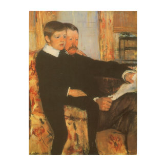 Vintage Father and Son Portrait by Mary Cassatt Wood Wall Decor