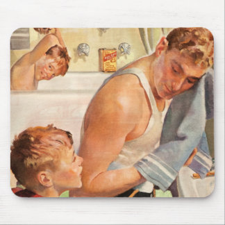 Vintage Father and Sons Getting Clean Bathroom Mouse Pad
