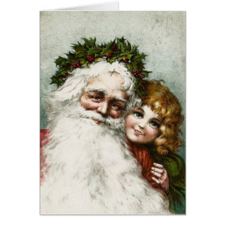 Vintage Father Christmas and Child Card