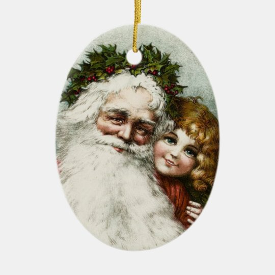 Vintage Father Christmas and Child Ceramic Ornament