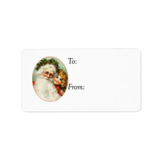 Vintage Father Christmas and Child Gift Tag