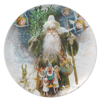Vintage Father Christmas Dinner Plate