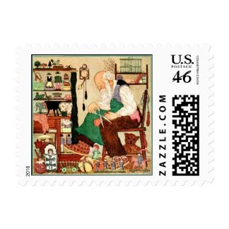 Vintage Father Christmas in his workshop Postage