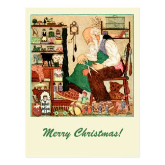 Vintage Father Christmas in his workshop Postcard
