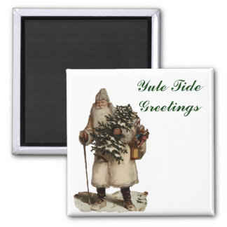 Vintage Father Christmas Square Magnet