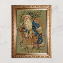 Vintage Father Christmas with Reindeer Holiday Postcard