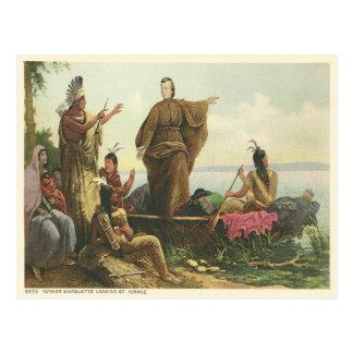 Vintage Father Marquette, St Ignace Michigan Postcard