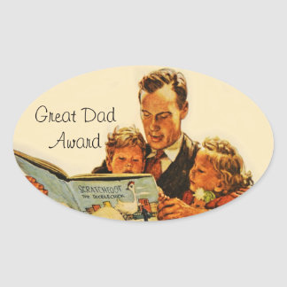 Vintage Father Parent Great Dad Award Reading Oval Sticker